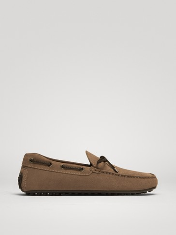 SAND-COLOURED SPLIT SUEDE KIOWA LOAFERS