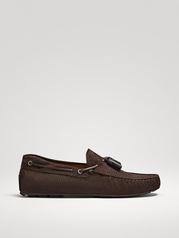 EMBOSSED BROWN LEATHER KIOWA LOAFERS