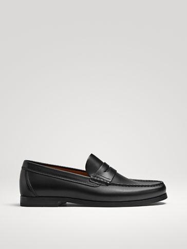 حذاء موكاسين جلد نابا أسود
