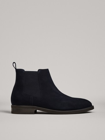 BLUE SPLIT SUEDE ANKLE BOOTS WITH GORES