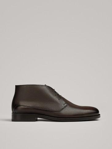 حذاء كاحلي صحراوي من الجلد البني