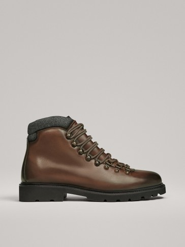 BROWN LEATHER MOUNTAIN BOOTS