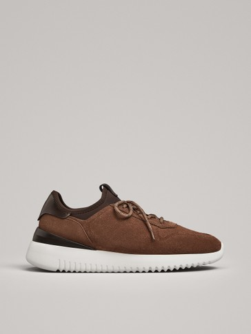 SAND LEATHER SOCK-STYLE TRAINERS