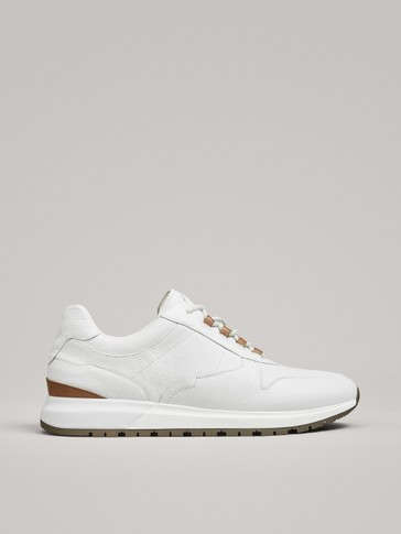 SNEAKERS EN CUIR BLANC-NATUREL