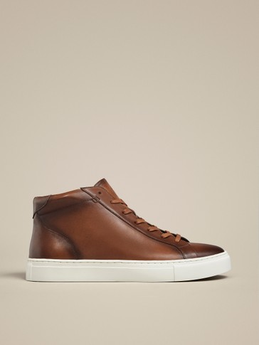 LEATHER HIGH-TOP TRAINERS