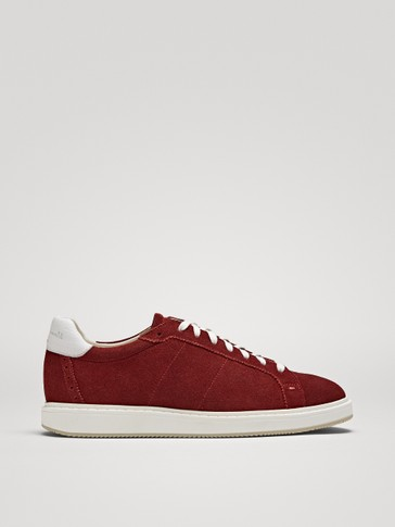 BURGUNDY SPLIT SUEDE TRAINERS