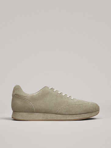 STONE GREY SPLIT SUEDE TRAINERS LIMITED EDITION