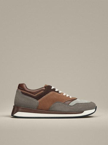 GREY-TAN CONTRAST LEATHER TRAINERS