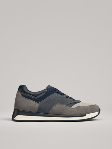 GREY-BLUE CONTRAST LEATHER TRAINERS