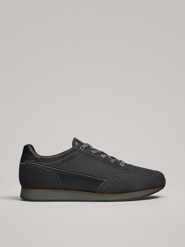 GREY DOUBLE-FACED LEATHER TRAINERS