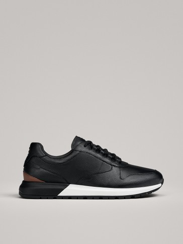BLACK-TAN LEATHER TRAINERS