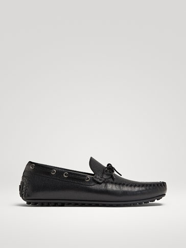 BLACK LEATHER KIOWA LOAFERS WITH BOW