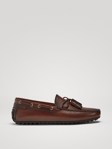 TAN BRUSHED NAPPA TASSEL LOAFERS