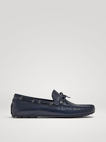 BLUE LEATHER KIOWA LOAFERS WITH BOW