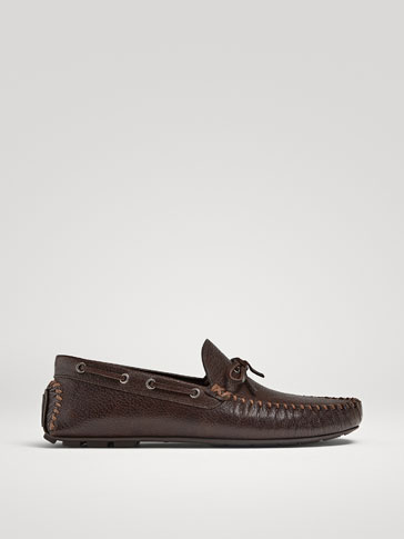 BROWN LEATHER KIOWA LOAFERS WITH BOW
