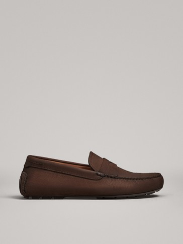 BROWN NUBUCK PENNY LOAFERS