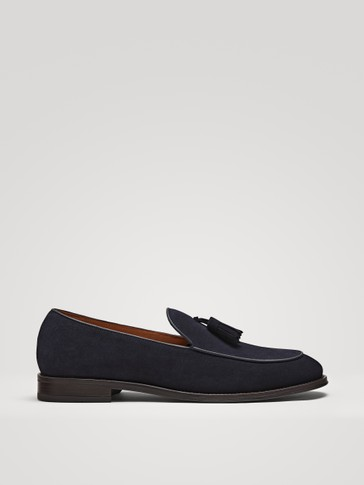 TASSELLED BLUE SPLIT SUEDE LOAFERS