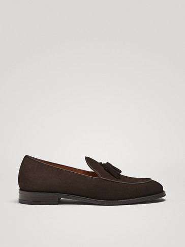 TASSELLED BROWN SPLIT SUEDE LOAFERS