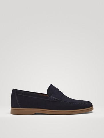 BLUE SPLIT SUEDE DECK SHOES