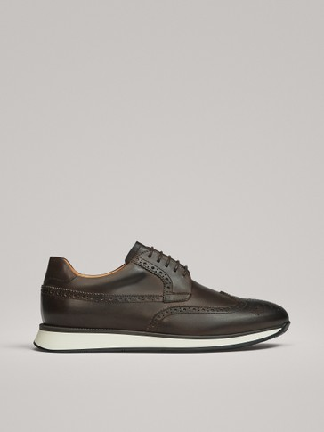 BROWN NAPPA LEATHER TRAINERS