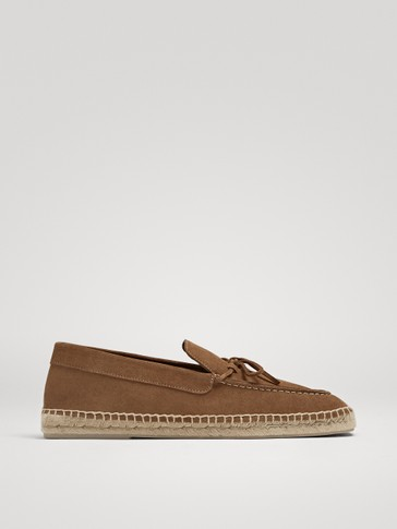CAMEL SPLIT SUEDE ESPADRILLES WITH BOW