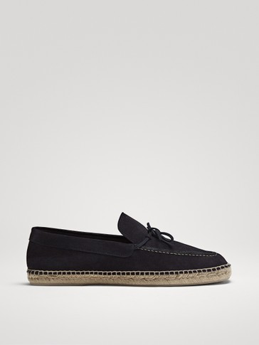 BLUE SPLIT SUEDE LEATHER ESPADRILLES WITH BOW