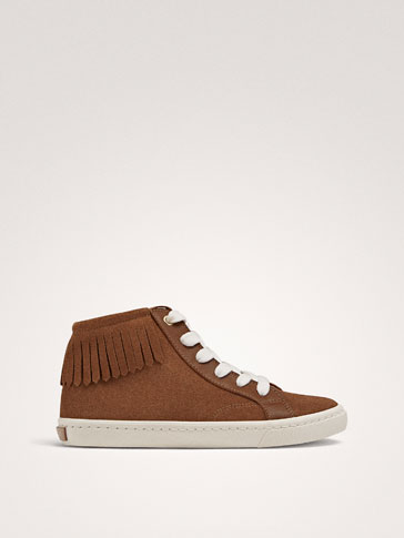 SPLIT SUEDE LEATHER HIGH-TOP TRAINERS WITH FRINGE