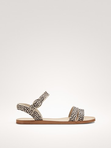 ANIMAL PRINT LEATHER STRAPPY SANDALS