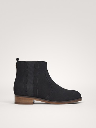 BLACK SPLIT SUEDE ANKLE BOOTS