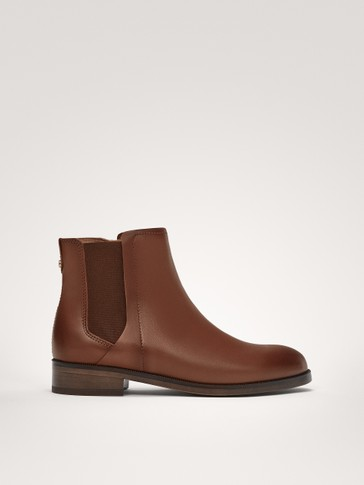 TAN NAPPA LEATHER ANKLE BOOTS