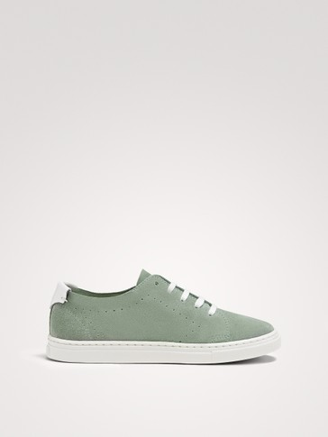 SOFT SEA GREEN SPLIT SUEDE TRAINERS