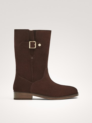 SPLIT SUEDE BUCKLED BOOTS
