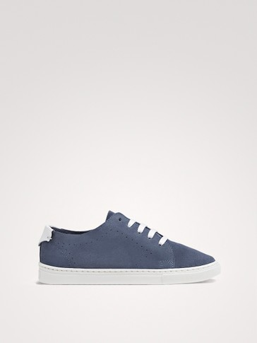 BLUE SOFT SPLIT SUEDE PLIMSOLLS