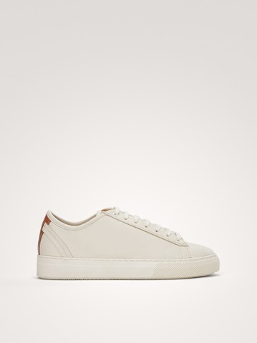 WHITE NAPPA LEATHER SNEAKERS