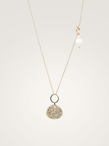 PEARL BEAD AND COIN NECKLACE