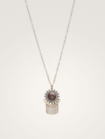 STONE AND POMPOM NECKLACE