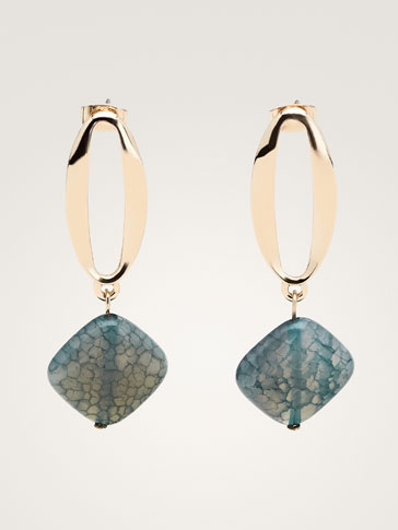 STONE AND PENDANT EARRINGS