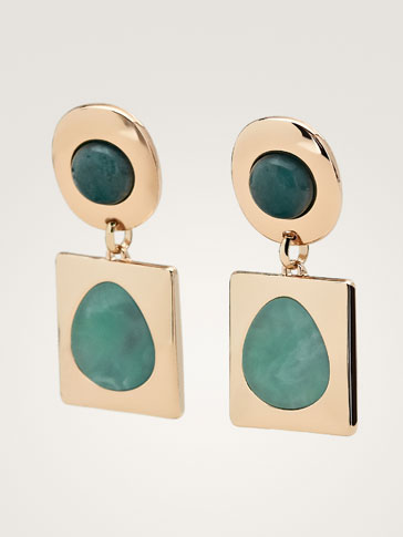 STONE AND GEOMETRIC PIECE EARRINGS