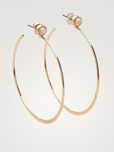HOOP AND STONE EARRINGS