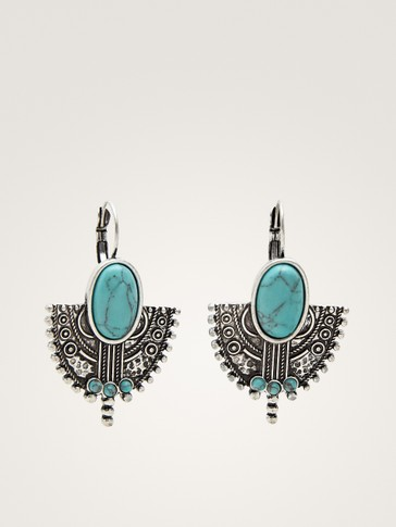 EMBOSSED STONE EARRINGS