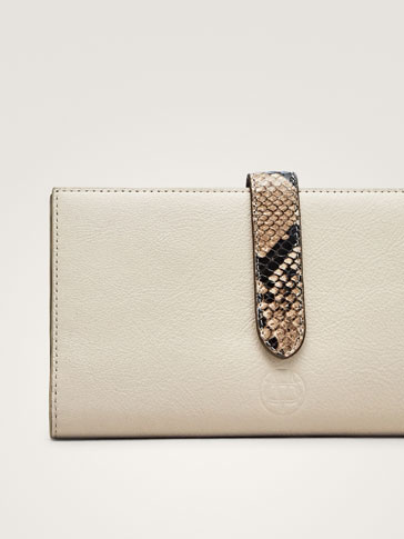 LEATHER WALLET WITH FAUX SNAKESKIN TRIMS