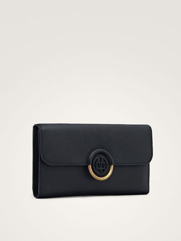 BLACK NAPPA PURSE WITH LOGO