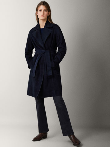 NAVY SUEDE TRENCH COAT WITH BELT