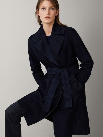 755655d41 NAVY SUEDE TRENCH COAT WITH BELT