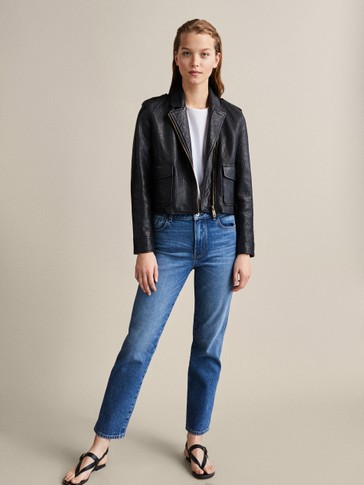 Black Bubble Textured Leather Biker Jacket by Massimo Dutti