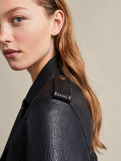 a0125e9ff BLACK BUBBLE-TEXTURED LEATHER BIKER JACKET - Women - Massimo Dutti
