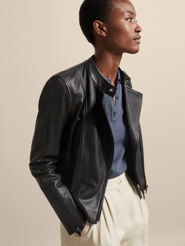 BLACK NAPPA BIKER JACKET