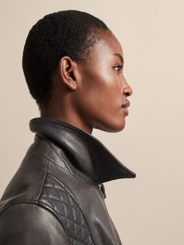 QUILTED NAPPA BIKER JACKET