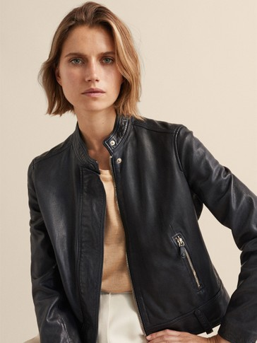 NAVY BLUE NAPPA LEATHER JACKET WITH BELT LOOPS