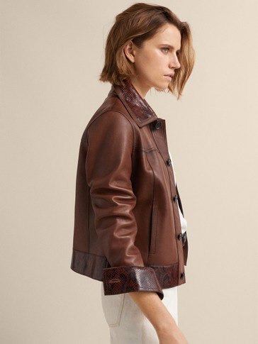 NAPPA LEATHER JACKET WITH SNAKESKIN DETAIL